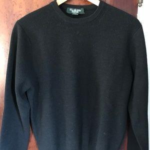 Brooks Brothers 100% Merino Wool Black Sweater